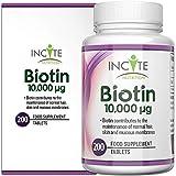 Vitamines de biotine pour la croissance des cheveux 10000 MCG 6 mois + fournissant 200 comprimés de 6 mm meilleurs...