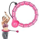 Cerceau Hula Hoop Fitness Adulte,Hoola Hoops 24 Noeuds Anneau Détachable 2 en 1 Taille Réglable avec Gravité Boule de...