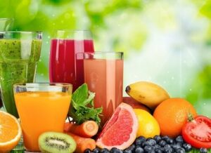 fruits, légumes et smoothies